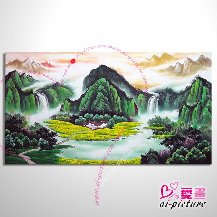 【五路财神八方聚财】66 纯手绘 油画 元宝山 招财壁画 山水画 聚宝