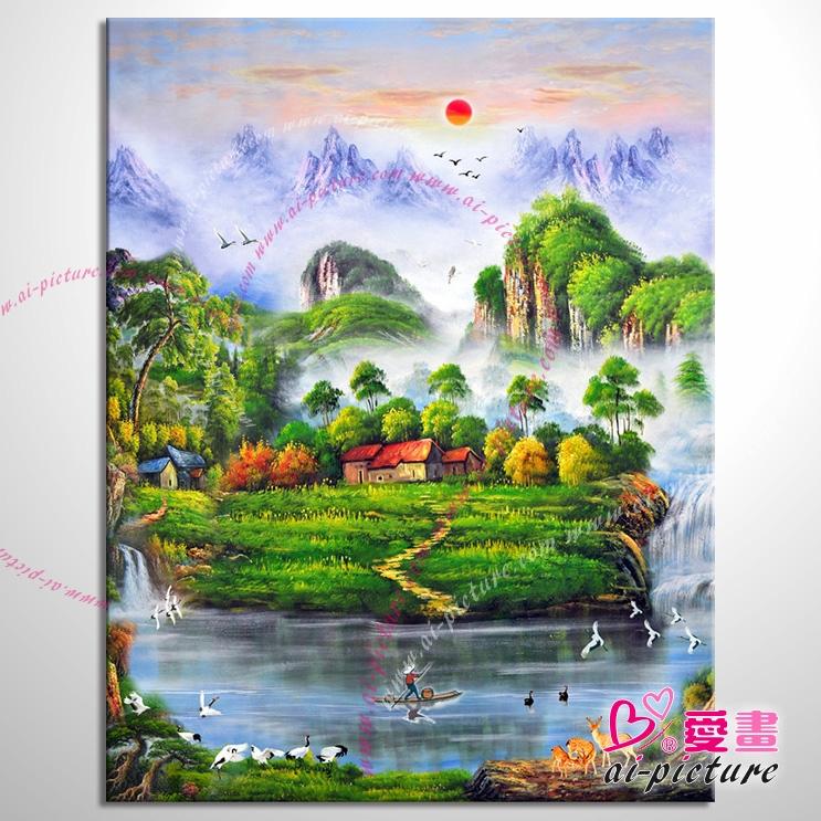 【五路财神八方聚财】123 纯手绘 油画 元宝山 招财壁画 山水画 聚宝
