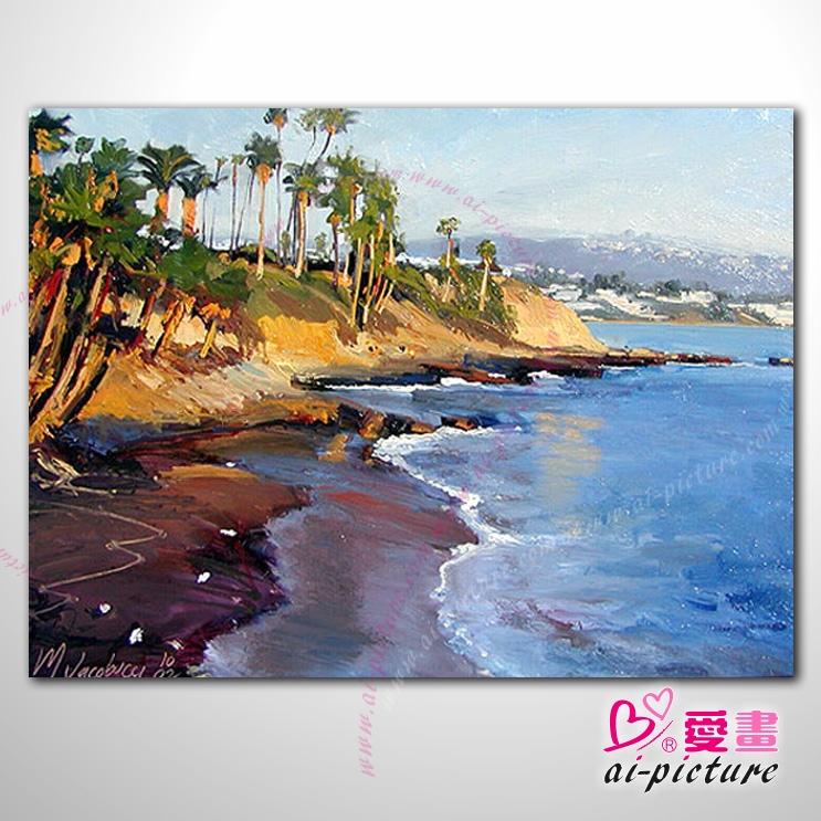 城市之美 大海帆船灯塔 海景45 纯手绘 油画 艺术画 浪漫 沙滩 海湾