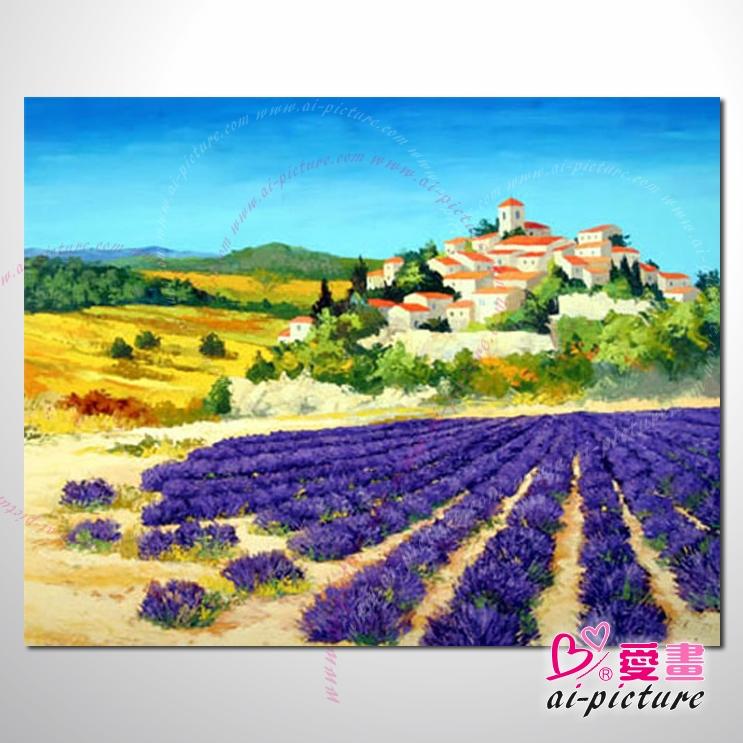 紫恋薰衣草125 香气 乡村风景 山水油画 纯手绘 油画